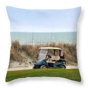 Golf Cart At Kiawah Island Golf Course Throw Pillow