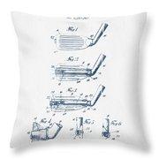 Golf Club Patent Drawing From 1917 - Blue Ink Throw Pillow
