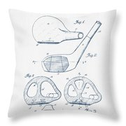 Golf Club Patent Drawing From 1926 - Blue Ink Throw Pillow