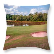 Golf Course Beautiful Landscape On Sunny Day Throw Pillow
