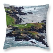 Golf Course On An Island, Pebble Beach Throw Pillow