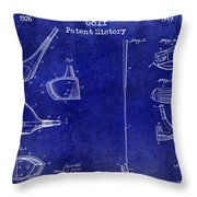 Golf Patent History Drawing Blue Throw Pillow
