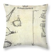 Golf Patent History Drawing Throw Pillow
