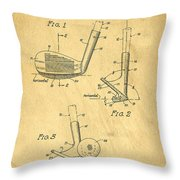 Golf Sand Wedge Patent On Aged Paper Throw Pillow
