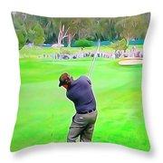 Golf Swing Drive Throw Pillow