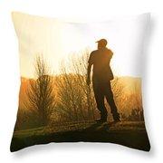 Golfer At Sunset Throw Pillow