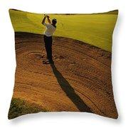 Golfer Taking A Swing From A Golf Bunker Throw Pillow