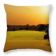 Golfer Walking On A Golf Course Throw Pillow