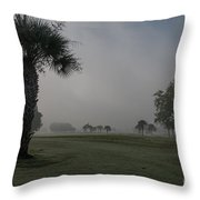 Golfing In The Fog Throw Pillow