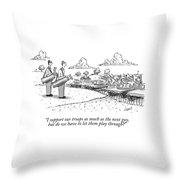 Golfing Through A Warzone Throw Pillow