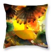 Golotha Glass Flowers Throw Pillow