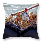 Gondola Bench Seat With Cherub Decoration Venice Italy Throw Pillow