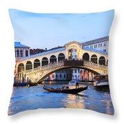 Gondola In Front Of Rialto Bridge At Dusk Venice Italy Throw Pillow