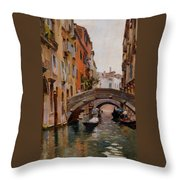 Gondola On A Venetian Canal Throw Pillow