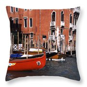 Gondolas In A Canal, Grand Canal Throw Pillow