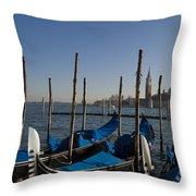 Gondolas In The Bacino Di San Marco Throw Pillow