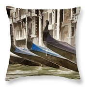 Gondolas-in-waiting   Venice Throw Pillow