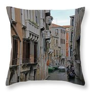Gondolas On Backstreet Canal Throw Pillow