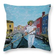 Gondolier At Venice Italy Throw Pillow