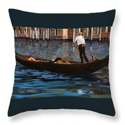Gondoliere Sul Canale Throw Pillow