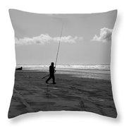 Gone Fishin' In Bw Throw Pillow