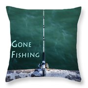 Gone Fishing At The Pier With My Rod And Reel Throw Pillow