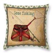 Gone Fishing-ikat Throw Pillow by Jean Plout