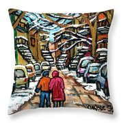 Good Day In January For Winter Stroll Snowy Trees And Cars Verdun Street Scene Painting Montreal Art Throw Pillow