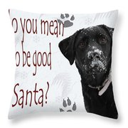 Good For Santa Throw Pillow by Cathy  Beharriell