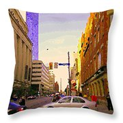Good Morning Drive By Yonge St Starbucks Toronto City Scape Paintings Canadian Urban Art C Spandau  Throw Pillow