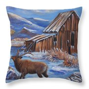 Good Morning Elk Throw Pillow