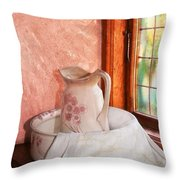 Good Morning- Vintage Pitcher And Wash Bowl  Throw Pillow