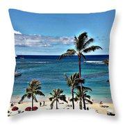 Good Morning Waikiki Throw Pillow