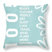 Good Things Blue Throw Pillow