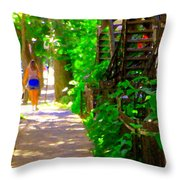 Goodbye Walking Away New Friends New Places To Visit Streets Of Verdun Montreal Art Scenes C Spandau Throw Pillow