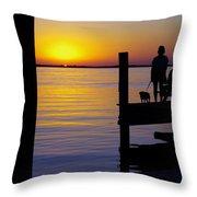 Goodnight Sun Throw Pillow by Karen Wiles