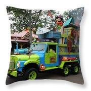 Goofy On Safari Throw Pillow