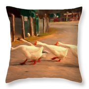 Goose Crossing Throw Pillow