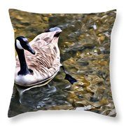 Goose In The Water Throw Pillow