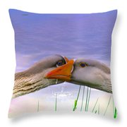 Goose Kiss - Featured In Comfortable Art - Nature Wildlife - Wildlife Groups Throw Pillow