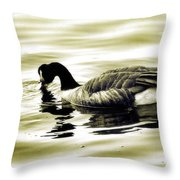 Goose Reflecting In The Water Throw Pillow