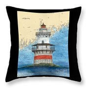 Goose Rocks Lighthouse Me Nautical Chart Peek Art Throw Pillow