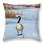 Goose Standing Throw Pillow