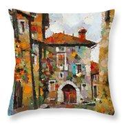 Gordes- Colorful Street Throw Pillow