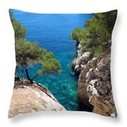 Gorge At Calanque De Port Miou In Cassis France Throw Pillow