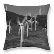 Gorge Windmills B W Throw Pillow