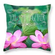 Gorgeous Pair Pink Lotus Couple Blossoms Green Leaves Throw Pillow