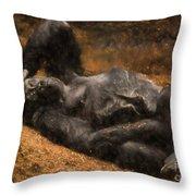 Gorilla - Painterly Throw Pillow