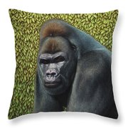 Gorilla With A Hedge Throw Pillow by James W Johnson