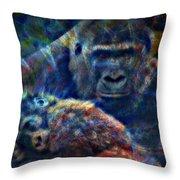 Gorillas In The Mist Throw Pillow